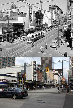 It's a far cry from its heyday, but some of the old buildings and signs still remain. The streetcar and old cars don't, however. This view is looking north down Granville street. Vancouver Bc Canada, Vancouver City, West Coast Canada, Granville Street, Seymour, Local History, Old Buildings, Back In The Day, Travel Posters