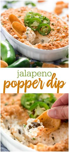 Jalapeño Popper Dip is packed with 4 kinds of cheese, just enough spicy Jalapeños to give it a kick, and a golden crispy topping. This dip is sure to be a hit at your next party! Easy Appetizer Recipes, Appetizer Dips, Yummy Appetizers, Dip Recipes, Jalapeno Recipes, Mexican Recipes, Cheesecake Recipes, Recipies, Jalapeno Popper Dip