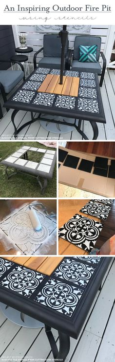 How To Design An Outdoor Fire Pit Using Only Stencils #diy #design #painting #homedecor