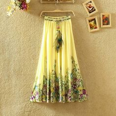 New Summer Chiffon Long Skirt Women Print Pleated Bohemian Maxi Skirts Femme Floral Boho Beach SKirt Women