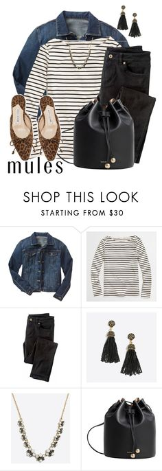 """""""Cool Mules"""" by curvygirlamy ❤ liked on Polyvore featuring Gap, J.Crew, Wrap, MANGO and Manolo Blahnik"""