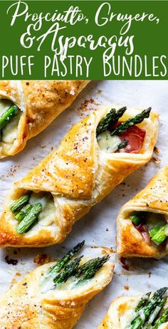 These Prosciutto Asparagus Puff Pastry Bundles are an easy and elegant appetizer or brunch idea! Perfect for Easter, Mother's Day or any other spring brunch! | Easter ideas | Mother's Day brunch ideas | Easy puff pastry recipes | Savory puff pastry recipes | Easy appetizer | Party appetizer | Asparagus recipe