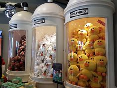 Cuteness in container tube at Line Friends Store Everland Gyeonggido Art Books For Kids, Line Friends, Kawaii Shop, Exhibition Booth, Wedding With Kids, Retail Shop, Commercial Design, Booth Design, Retail Design