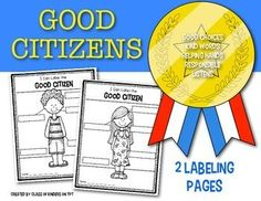 FREEBIE from Class of Kinders. Label the good citizen activity. Includes both… Kindergarten Social Studies, Social Studies Activities, Kindergarten Science, Teaching Social Studies, Student Teaching, Citizenship Activities, First Grade Freebies, Subject And Predicate Worksheets, Good Citizen