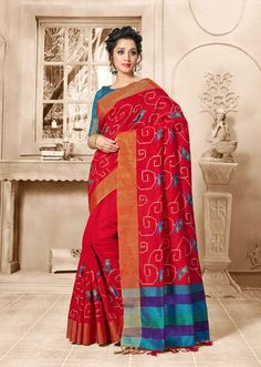 buy online Red colour designer heavy party wear fancy fabric saree with Art Silk designer blouse at joshindia