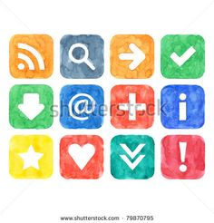 All my aquarelle drawings http://www.shutterstock.com/sets/16601-watercolor-painting.html?rid=498844 — Watercolor web button set with basic internet sign on white background — Keyword: add addition app application arrow at attention blog blue check checkmark down download exclamation green heart icon inet info information interface magnifier menu orange plus red rss square star texture warning yellow — #Royalty #free #stock #photo #illustration for $0.28 per download