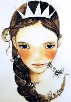 The bee queen art print by claudiatremblay on Etsy