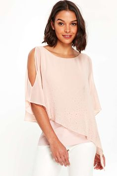 Petite Blush Asymmetric Layered Top - Tops - Clothing - Wallis Europe