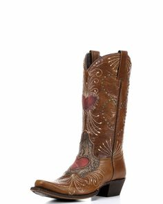 """Women's Vintage Heart Canela Boot. """"The shaft and foot are covered in delicate details: zigzag embroidery, heart-outline studs, and firework stitching. All of these accents compliment beautiful cinnamon leather with red distressed hearts."""""""