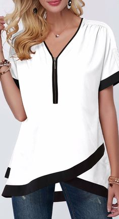 Tops For Women Contrast Piping Crossover Hem Half Zipper Blouse Trendy Tops For Women, Stylish Tops, Blouses For Women, Women's Blouses, White Blouses, Formal Blouses, Printed Blouse, Short Sleeve Blouse, Fashion Outfits