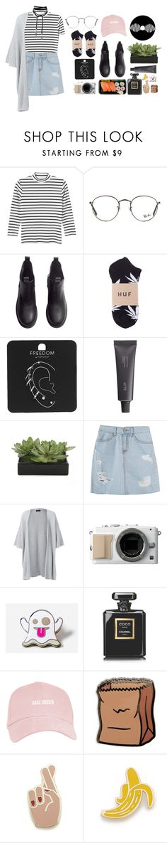 """Call Me Baby"" by gitasamudra ❤ liked on Polyvore featuring Monki, Ray-Ban, H&M, Topshop, Bite, Lux-Art Silks, Eskandar, PINTRILL, Chanel and Georgia Perry"
