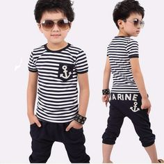 2013 summer navy style boys clothing baby short sleeve T shirt capris pants set children kids suit, kids clothes Free Shipping-in Clothing S...