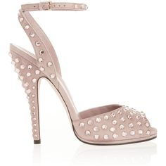 Gucci Yulia Swarovski crystal-embellished suede sandals ($995) ❤ liked on Polyvore featuring shoes, sandals, gucci, suede sandals, pink sandals, gucci shoes, wrap sandals and strappy sandals