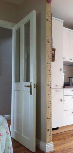 Family growth chart- giant ruler..like this...as we're just repainting the kitchen, so the kid's measurements marked behind the door will be painted over! This, and a photo of the old version.