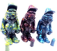 """Maskedmen"" Resin Figures By Hoakser (@hoaksergraffiti) - http://www.sugarcayne.com/2015/02/maskedmen-resin-figures-by-hoakser/"