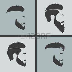 coiffures hommes: icônes coiffures profil barbe et la moustache de hippie Illustration