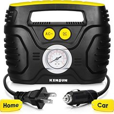 Kensun AC/DC Swift Performance Portable Air Compressor Tire Inflator with Analog Display for Home (110V) and Car (12V) - 18/20 Litres/Min #Kensun #AC/DC #Swift #Performance #Portable #Compressor #Tire #Inflator #with #Analog #Display #Home #Litres/Min