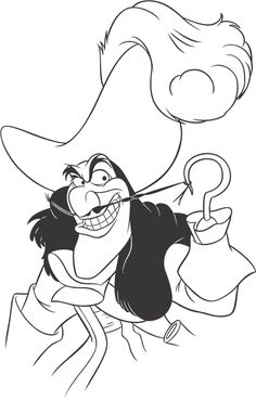 Peter Pan's Captain Hook coloring page. Peter Pan Coloring Pages, Disney Coloring Pages, Free Coloring Pages, Coloring Books, Coloring Sheets, Printable Coloring, Disney Drawings Sketches, Cartoon Drawings, Cool Drawings