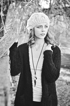 Senior Portrait High School Seniors Portraits Black and White Photography Girl Winter Fall