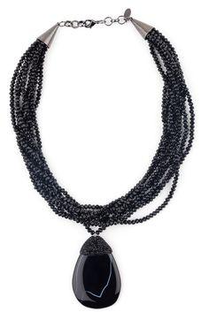 BLACK WIDOW Black Agate and Swarovski Crystal Necklace from www.nalaatelier.com