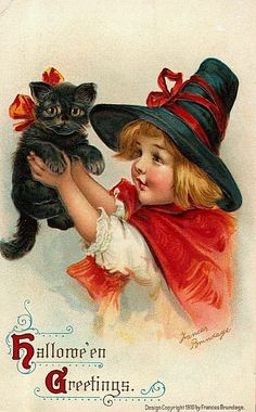 vintage halloween card I love the work of Frances Brundage