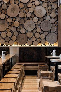 Mur décoratif en bois massif
