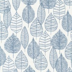 Line Leaf in Blue, Bark and Branch collection by Eloise Renouf for Cloud 9 Fabrics, Organic Fabric, Half Yard Blue Fabric, Cotton Fabric, Pink Chalk, Cedar Homes, Cloud 9, Textures Patterns, Printing On Fabric, Pattern Design, Leaves
