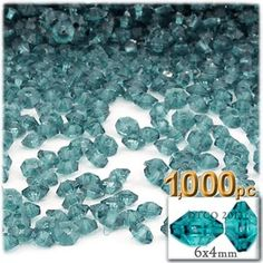 Plastic Faceted beads, Rondelle Transparent, 6x4mm, 1000-pc, Teal