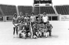 Fiji Warriors a University of Oregon intramural soccer team and champions of the spring intramural Soccer Leage II. Front row, from left to right: Todd Christensen, Scott McCloed, Pat English, Andy Burns, Dave Eastman. Back row: Dan Metz, Bruce Beekley, Jeff Bighelow, Brian Boe, Glen Hoage. One unspecified player in the back row is unidentified.©University of Oregon Libraries - Special Collections and University Archives