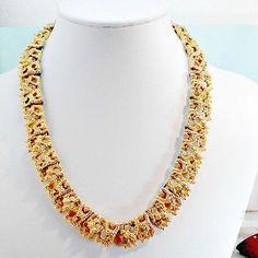 Chain-necklace-goldtone-nugget-look-textured-openwork-rhinestones-15-1-2