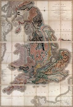 The world's first geological map (handprinted, 10'x16'), published by William Smith, 1815