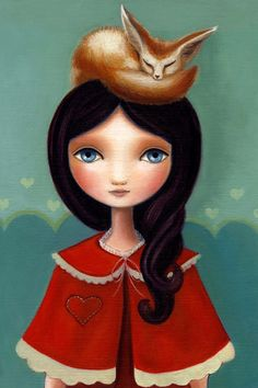Girl and fox - Rose 13x19 LARGE print on Somerset Velvet - fennec fox art by Marisol Spoon