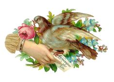 Antique Images: Free Bird Clip Art: Antique, Victorian Die Cut of Pigeon and Flowers
