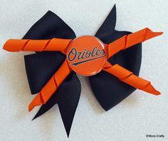 Baltimore Orioles Orange & Black Grosgrain Ribbon Hair Bow, Oriole Barrette, Maryland MD O's Clip MLB Baseball Fan Gear, Charm City Game Day by SmoreCrafty on Etsy