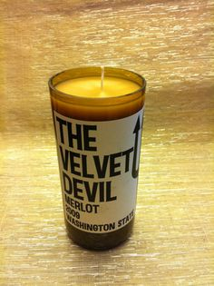 Items similar to Velvet Devil recycled wine bottle candle on Etsy Wine Bottle Candles, Recycled Wine Bottles, Recycled Glass, Candle Jars, Wine Cork Art, Wedding Humor, Solar Lights, Fused Glass, Recycling