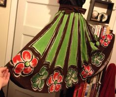 Vintage 50s 60s Mexican Full Circle Floral Hand Painted Tourist Skirt 1940s Fashion, Vintage Fashion, Mexican Skirts, Vintage Stuff, Aurora Sleeping Beauty, Hand Painted, Floral, Clothing, Outfits