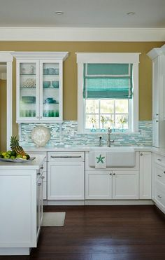 Beach House Kitchen with Shimmery Turquoise 1×4 Tile Backsplash