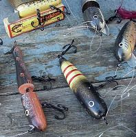 Set of 12 Antiqued Wood Old Fashion Fish Lure Ornaments Fishing Theme Tree