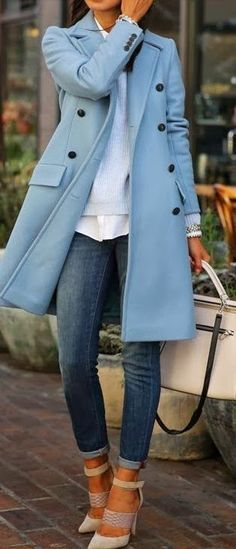Gorgeous blue coat, a colour that would go with everything. #casual wear. #spring & fall. Via #the daily style