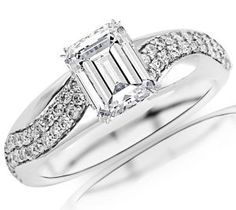 Emerald Cut 14K White Gold Two Rows Of Pave-set Round Diamond Engagement Ring