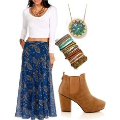 """boho"" by renningerj on Polyvore fashion style blog paisley maxi skirt white long sleeve crop top beaded bracelets brown ankle boots"