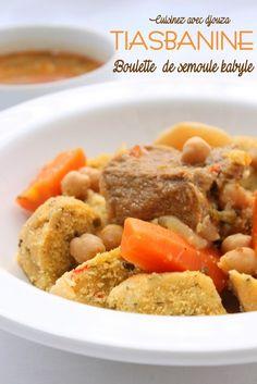recette kabyle; boulette de semoule; tiasbanine