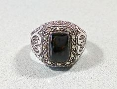 Vintage Black Onyx Silver Marcasites Sterling Ladies Ring Size 8 Gift For Her Sparkling Tapered Wide Band Fabulous Fashionable Rockin' Ring #etsy #etsyseller #etsyshop #etsyshopowner #etsyvintageseller #etsyvintage #etsyjewelry #etsygifts #etsylove #vintagearizona #vintagejewelryforsale #vintagegold #vintagesilver #goldjewelry #vintagejewellery #sterlingsilverjewelry #southwest #southwestjewelry