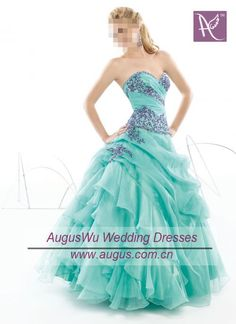 Sweetheart Turquoise Organza Purple Beaded Full Length Prom Dress