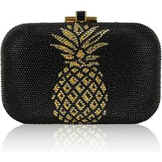 Judith Leiber Couture Pineapple Crystal Evening Clutch Bag (3,495 CAD) ❤ liked on Polyvore featuring bags, handbags, clutches, champagne jetmult, special occasion handbags, crystal handbags, holiday purse, crystal clutches and judith leiber handbags