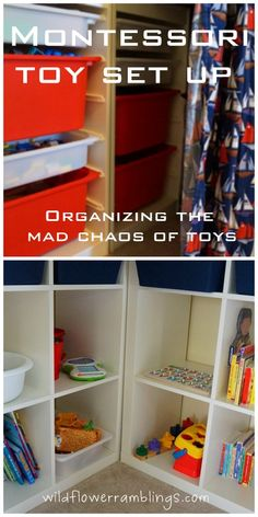 organizing the mad chaos of toys: a montessori set-up from Wildflower Ramblings