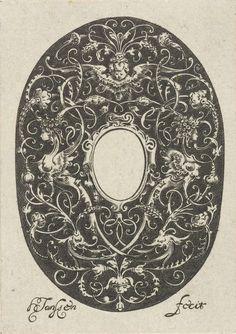 Ovaal met gestileerde ranken en een leeg compartiment in het midden, Hans Janssen, Anonymous, Anonymous, 1615 - c. 1630