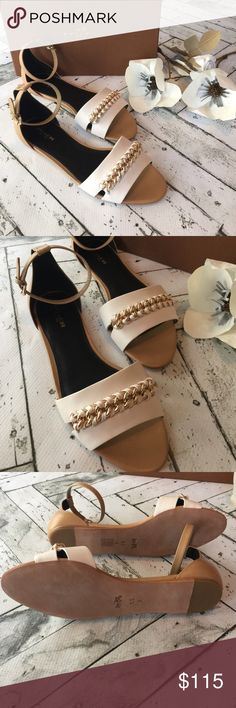 🎉SALE🎉  👡COACH Sandals👡 (final sale price)           Brand new with tags and box authentic Coach Seabreeze Sandals in chalk/nude. Such beautiful and classy sandals! Gorgeous chalk and nude leather finished with gold chain link detail.NO Trades‼️. Coach Shoes Sandals