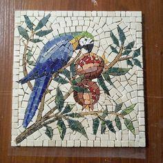 Marble Mosaic Handmade, Wall Art Parrot, Roman Mosaic, Home Decor Parrot Bird, T. Mosaic Tile Designs, Mosaic Tile Art, Mosaic Artwork, Mosaic Crafts, Mosaic Projects, Marble Mosaic, Mosaic Patterns, Mosaic Glass, Mosaics