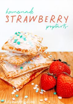 Homemade Strawberry Pop Tarts - Kels in Wonderland Strawberry Chia Jam, Strawberry Recipes, Mini Foods, Afternoon Snacks, Dessert Recipes, Desserts, Kid Friendly Meals, Pop Tarts, Sweet Treats